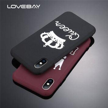 Trendy Lovebay Candy Color King Queen Crown Phone Cases For iPhone X Case For iphone 8 7 6 6s Plus Chic Plain Soft TPU Cover Back Case AT_94_13