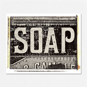 Bathroom Decor Laundry Room Decorating Shabby Chic Cottage Chic Black and White Soap Crate - 8x10 - Nursery Laundry Bath Fine Art Photo.