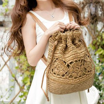 Bohemian Straw Drawstring Backpack
