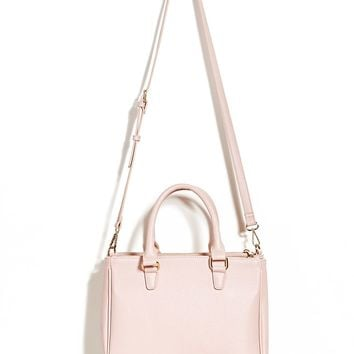 Faux Leather Double-Zip Satchel