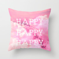 Happy Happy Happy Throw Pillow by Louise Machado