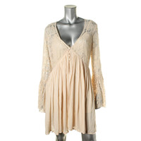 Free People Womens Lace-Trim Embroidered Babydoll Dress