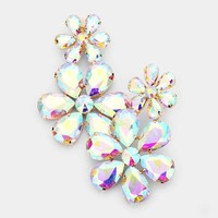 Crystal Double Floral Drop Evening Earring