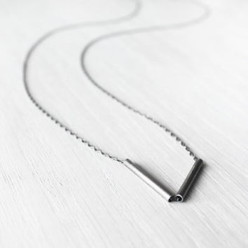 Silver Chevron Necklace  - geometric minimalist tube V arrow triangle point statement long sterling silver chain - minimalist jewelry