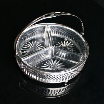 Antique Sterling Silver Candy Dish -  Art Deco Signed MH Moore & Hoffman Serving Basket Decor with Glass Insert / Filigree Divided Tray
