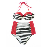Retro Style Red Color Block Stripes Halter Top & Ruched High Waist Bikini! Underwire for extra support! Beautifully retro!