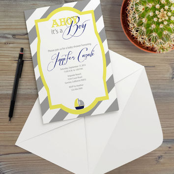 Instant Download - Nautical Yellow Gray Stripes Sailboat Sailor Baby Boy Shower Coastal Cottage Chic Modern Party Invitation Template