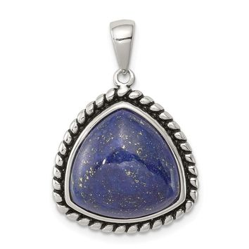 925 Sterling Silver Polished, Antiqued Lapis Cabochon Pendant