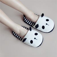 FunShop Women's Panda Pattern White Indoor Slipper in Stripes D1126