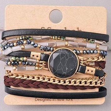 Love Worldwide Black Wrap Bracelet