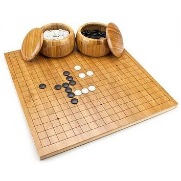Bamboo Go Set with Reversible Board, Bowls, Stones