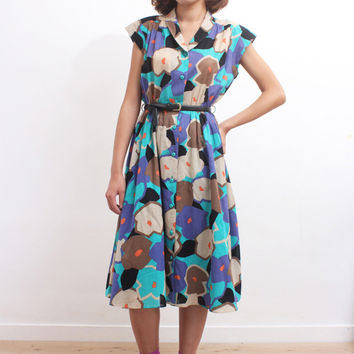 Vintage 1980s Shawl Collar Abstract Floral Cap Sleeves Skater Dress