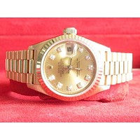 Rolex trendy diamond champagne dial women's watch F