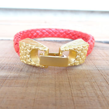 Genuine Leather Bracelet,Unisex Jewelry, Red Leather Bracelet, Gold Clasp Bracelet, Cuff Bracelet, Mother's Day Gifts