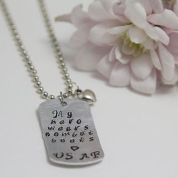 My Hero Wears Combat Boots - Army, Air Force, Marines, Navy, Coast Guard, Personalized Military Dog Tags