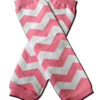 "CHEVRON Pink & White Zig Zag Baby Sweet Leggings/Leggies/Leg Warmers - Little Girls by ""BubuBibi"""