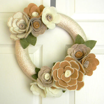 """Felt and Yarn Wreath: 12inch """"Soft Neutral Blossoms"""" and FREE Micro Wreath"""