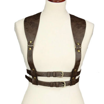 Steampunk Harness Belt Brown Faux Leather Vintage Style Harness Gothic Victorian