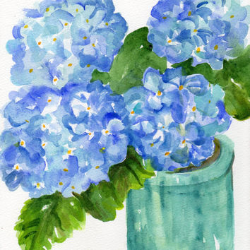 Original Watercolor Painting Blue Hydrangeas , 8 x10
