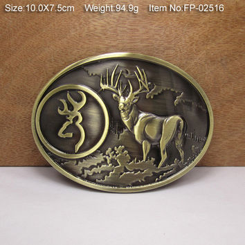 Bronze Deer HEAD OPENER Cowgirls CowboysMetal Belt Buckle Texas Fashion Mens Western Badge Feathers Native Avengers