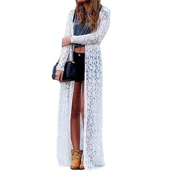 2019 Summer Plus Size 3XL 4XL 5XL Women Floral Lace Kimono Semi Sheer Solid Open Front Long Elegant Beach Cover Up Cardigan tops