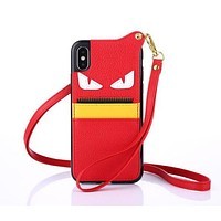 FENDI Hot ! Popular Mobile Phone Shell Phone Cover Case For iphone 6 6s 6plus 6s-plus 7 7plus 8 8plus X +Hang Rope Red