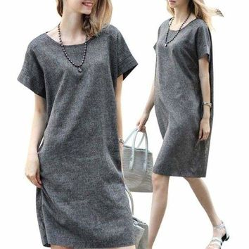 US Fashion Women's Short Sleeve Cotton Linen Dress Lady Casual Loose Solid Dress