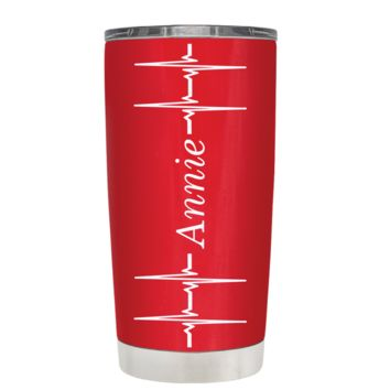 Personalized Heart Beat Pulse on Red 20 oz Tumbler Cup
