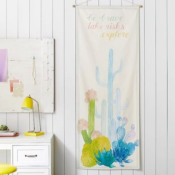 Be Brave Cactus Wall Mural