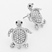 Clear Rhodium Turtle Earrings