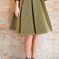 Glinta Metallic Pleated Midi Skirt - Gold