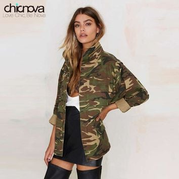 Trendy 2016 New camo jacket women plus Size Long Sleeve Denim Jacket Zipper closure Women's Jacket Coat TA02801030329 AT_94_13
