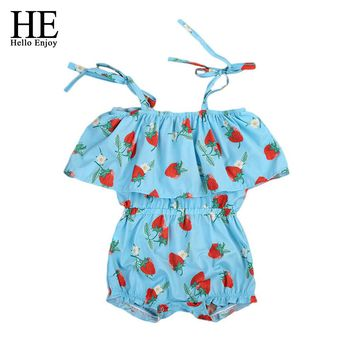 Baby romper baby girl clothes summer sky blue sleeveless sling strawberry print romper toddler girl clothes