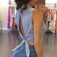 Women clothes summer Striped Sleeveless turn-down