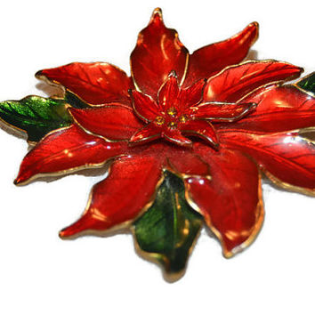 Vintage Enameled Painted Red Christmas Holiday  Poinsettia Flower Gold Tone  Brooch Pin