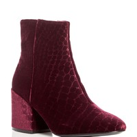 AshErika Velvet Block Heel Booties