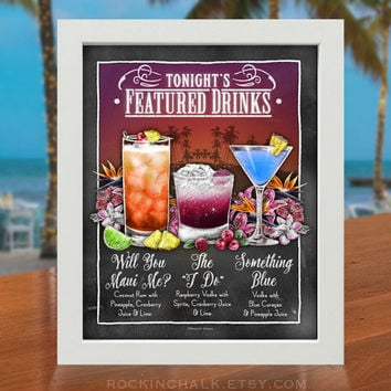 TRIO of DRINKS  | Tropical Island Theme Featured Drink Sign - Custom Destination Wedding Decoration for Rehearsal Dinners, Receptions