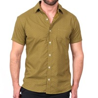 Light Olive Green Wave Print Short Sleeve Shirt - Ollie Size L Available