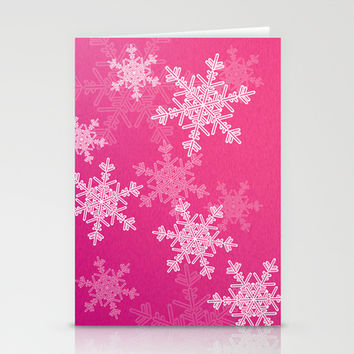 Pink snowflakes Stationery Cards by Silvianna