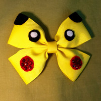 Pikachu Pokemon Character Inspired Yellow Hair Bow