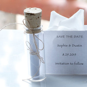 Save the date, message in a bottle, rustic, personalized, wedding invitations