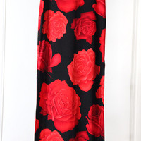 Long 90s Rose Print Skirt with Two Slits