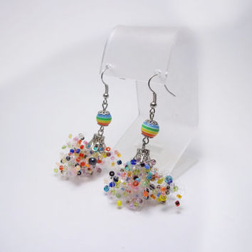 FREE SHIPPING. Colored earrings, multi colored earrings, seed beads earrings, fluffy earrings, free style, Freeform earrings