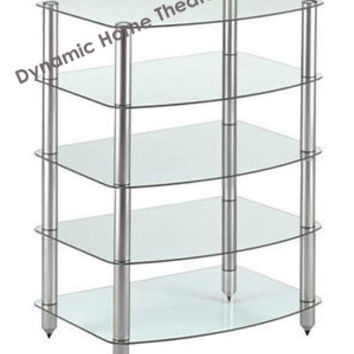 5 Shelf Glass & Steel Audio Rack