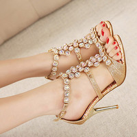 Cleo High #Heel #sandals shoes with gold jeweled gems and open toe