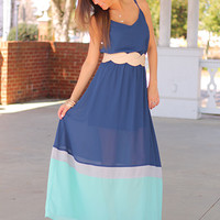 The Tessa Maxi, Navy/Mint
