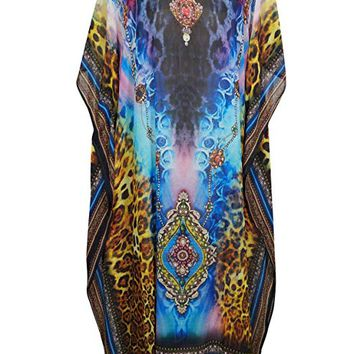 Mogul Interior Anahi Georgettina Flowy Rhinestone Long Digital Print Caftan One Size (Blue,Yellow): Amazon.ca: Clothing & Accessories