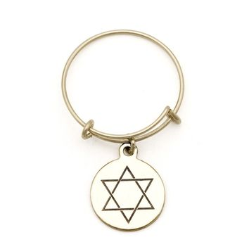 Star Of David Spriritual Imprint Expandable Wire Ring