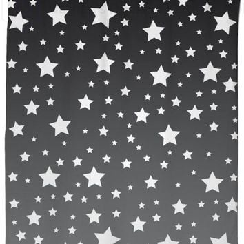 White Stars Gray Ombre Shower Curtain