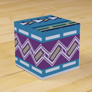 Bohemian Geometric Blue Pattern Favor Box